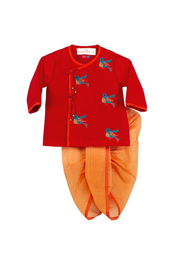Red Bird Embroidered Angrakha With Chanderi Dhoti