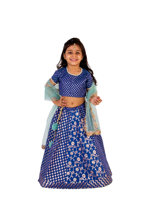 Blue chanderi lehenga choli set