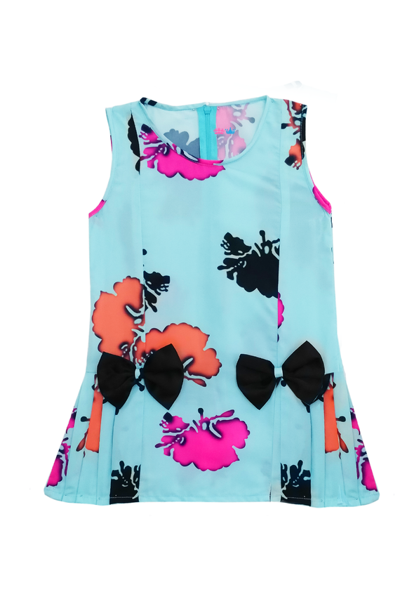 Printed frock with bow