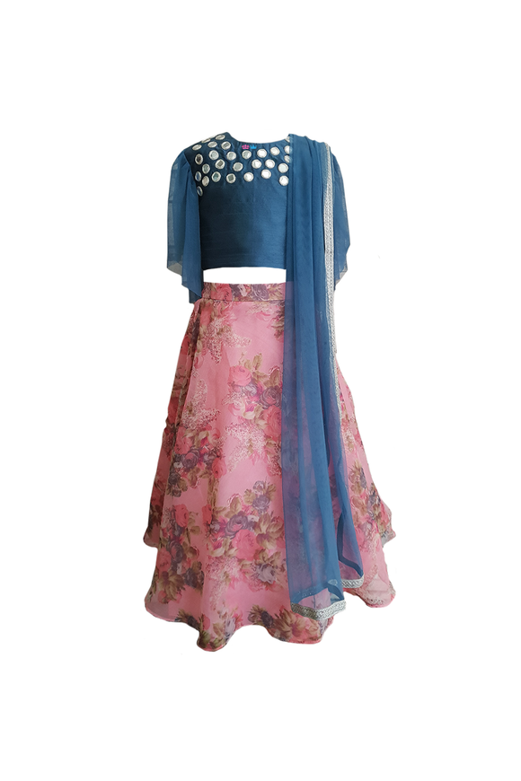 Blue mirror work choli with pink floral lehenga