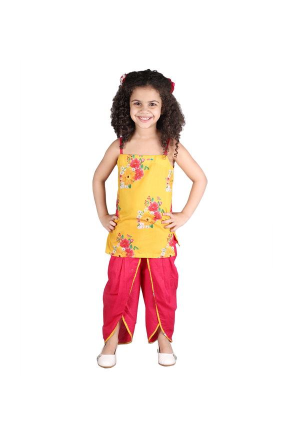 Floral kurta with dhoti