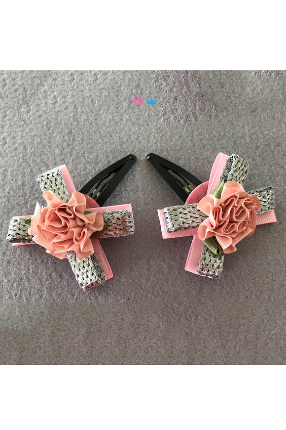 Bow and flower theme hair clips