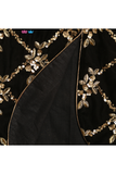 Black velvet jacket with black lehenga
