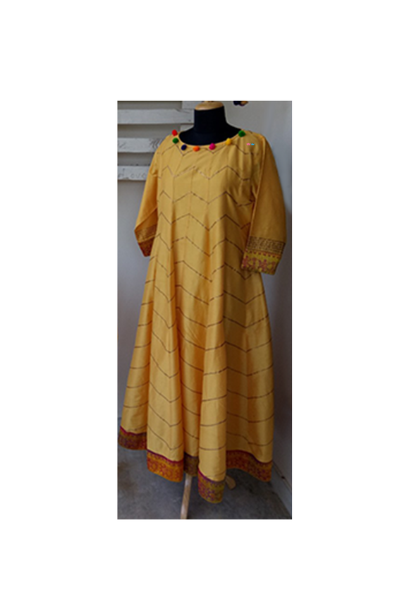 Yellow gota katan silk anarkali gown dress