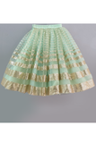 Mint green sequined cold shoulder frilly crop top and lehenga