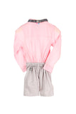 Organic Pink and Grey Tuxedo style romper with bow tie