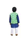 Blue kurta with shark print jacket and white churidar