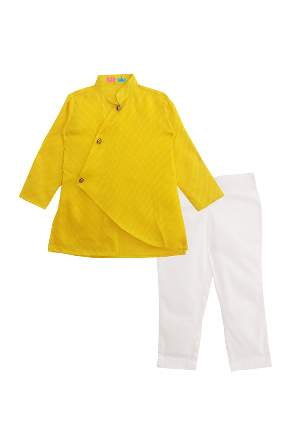 Yellow mothra kurta with white pants