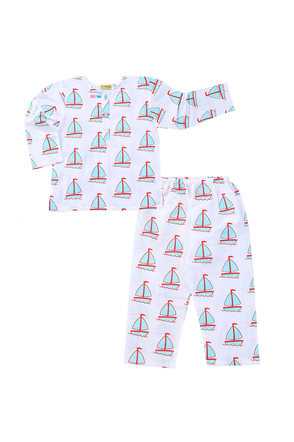 Handprinted Nightsuits in Sail Boat Print