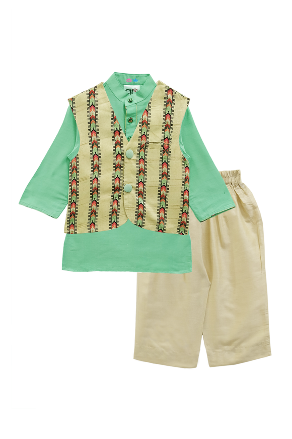 Sea Green kurta pyjama with nehru jacket set