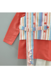 Multicolor striped pleated jacket with coral kurta and off white pyjama