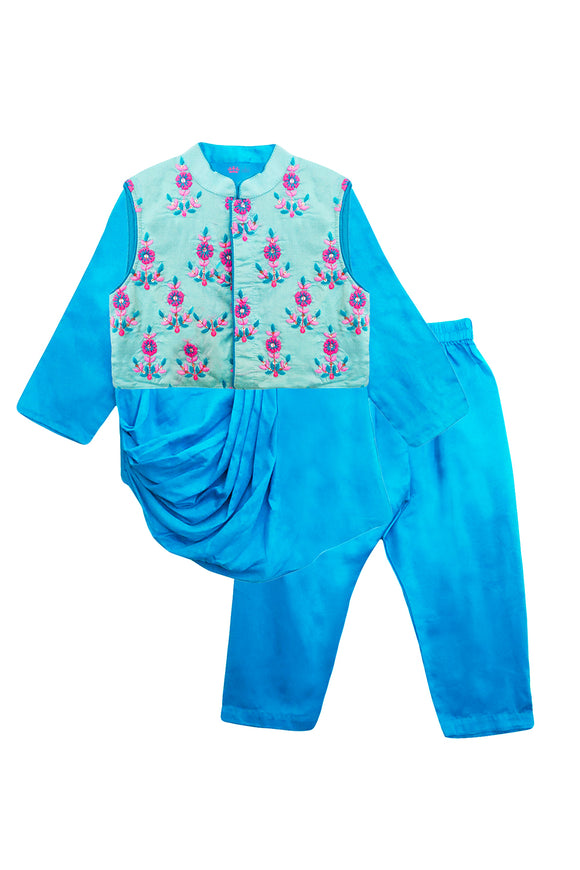 Blue cowl kurta and pyjama with floral embroidered jacket