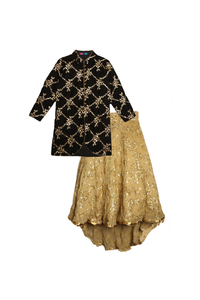 Black velvet jacket with trail lehenga