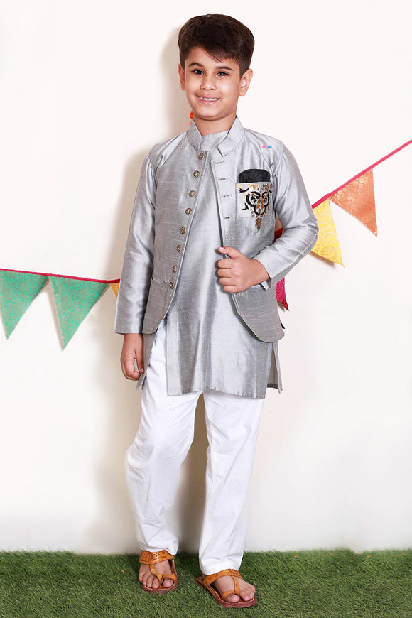 Dad and son off-white/grey embroidered Nehru jacket and kurta