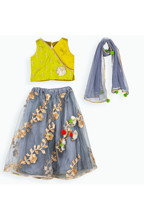 Green choli and grey embroidered lehenga with dupatta! Get the Best Designer Lehenga Sets for Baby Girls, Designer Choli Ghagra Sets for Baby Girls, Designer Lehenga Choli Sets for Girls, Designer Lehenga Choli for kids, Lehenga for Girls, Ghagra for Girls, Ethnic wear for Girls, Indian Wear for Girls, Designer Ghagra for Kids