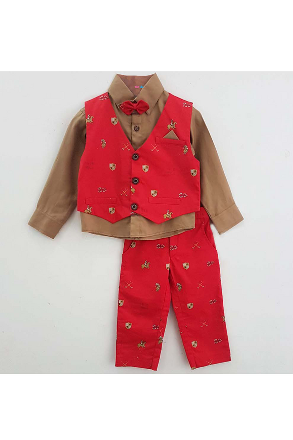Beige shirt and red horse embroidered motif waistcoat with pant