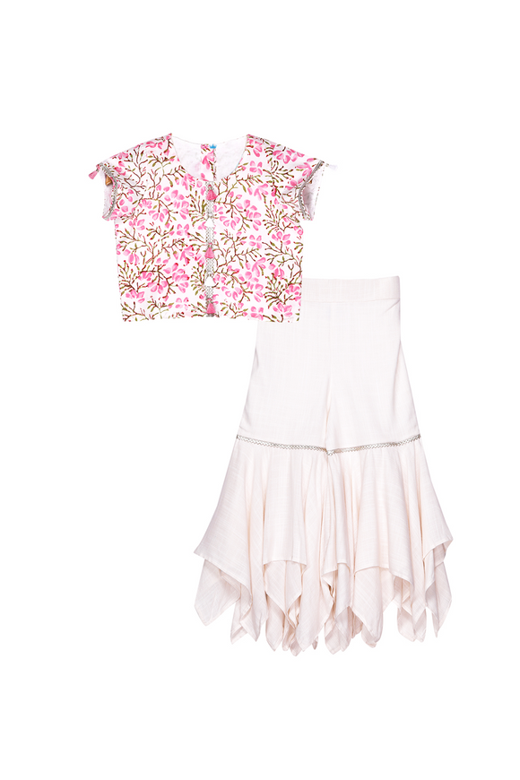 Pink floral crop top with off white sharara set