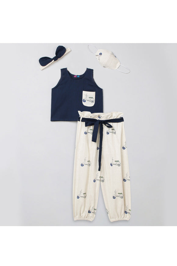 Navy blue top and printed pants with matching hairband and mask