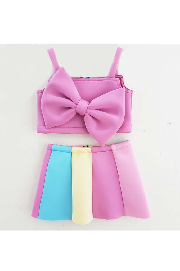 Lavender bow top and multi color skirt! Designer Dresses for Girls, Designer Dresses for Baby Girls, Designer Partywear Dresses for Girls, Party Dresses for Girls, Smart Partywear Dresses for Girls, Designer Party Dresses for Girls