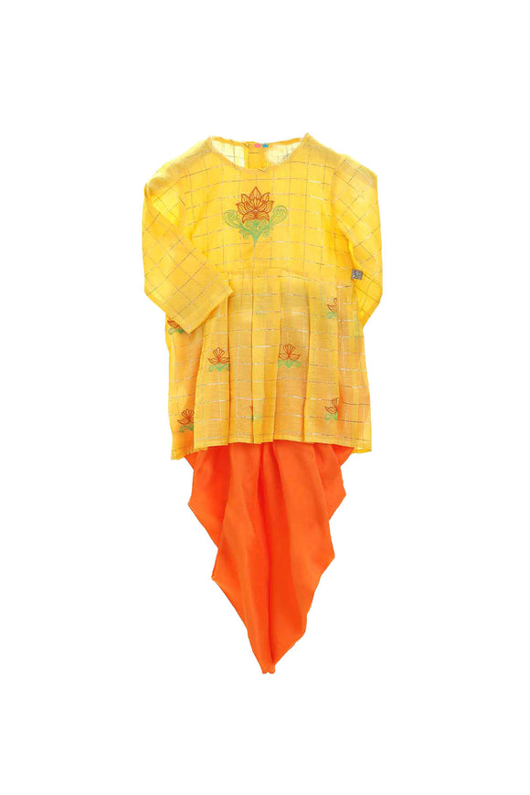 Organic yellow peplum style top and orange dhoti