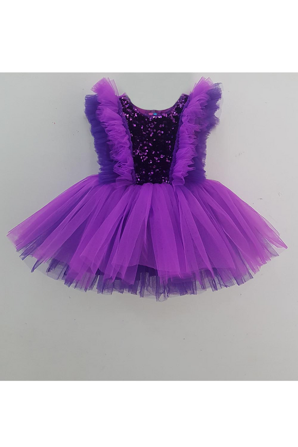 Shades of purple sequined net frills dress
