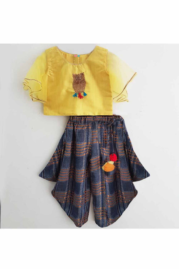 Yellow owl motif top and navy blue flared patiala