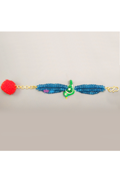 Green parrot blue beaded bracelet