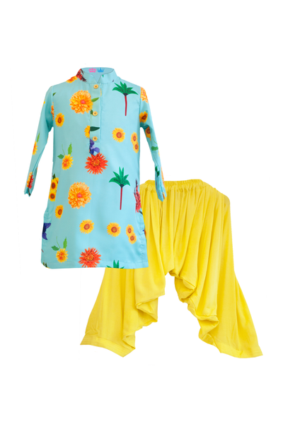 Blue and Yellow Kurta Patiala Set