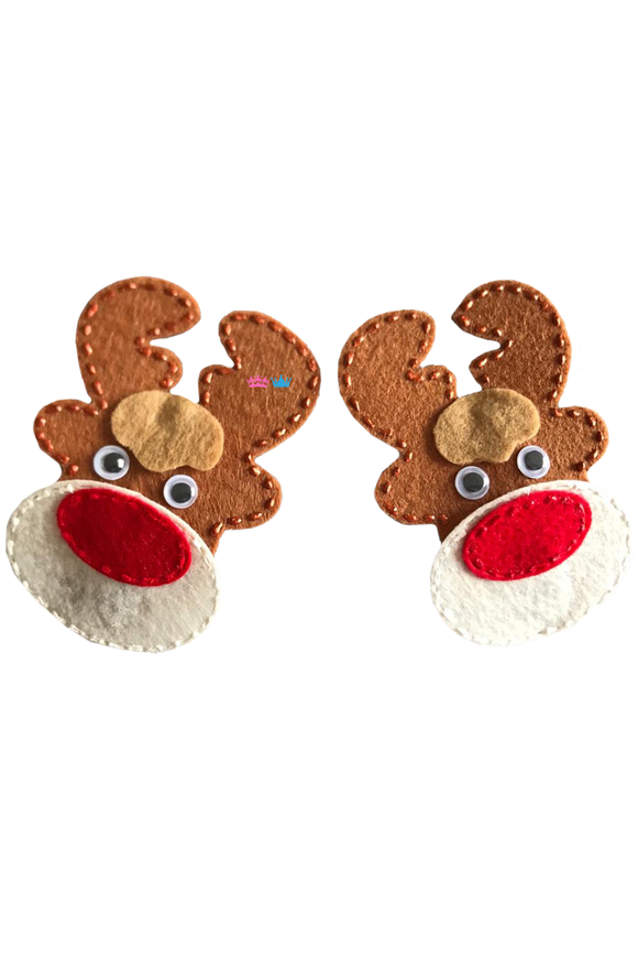 Red nose reindeer theme hair clip