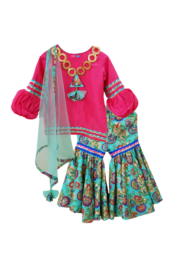 Mint Green Silk Sharara And Rose Pink Kurta With Attached Dupatta