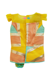 Yellow peplum top with aqua blue dhoti