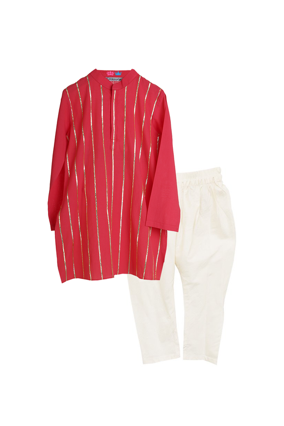 Organic Red Gota Kurta with Contrast Pyjama Set
