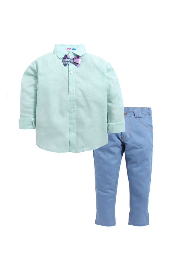 Sea green shirt with denim pants set