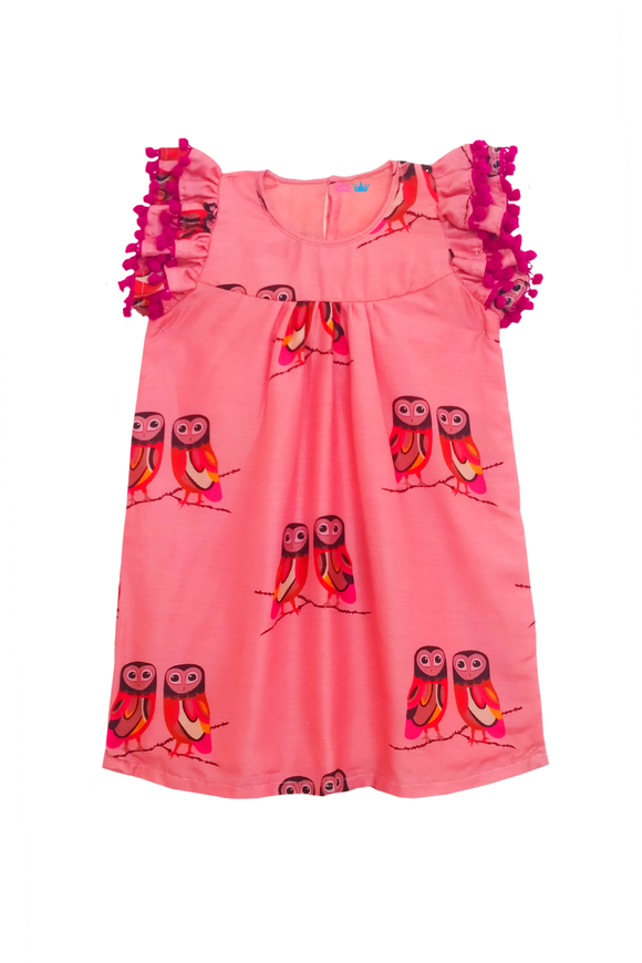 Owl print flutter sleeves pom pom dress