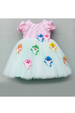 3D baby sharks pink and sea green dress