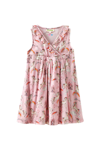 Unicorn & castle print dress with frills at front neck