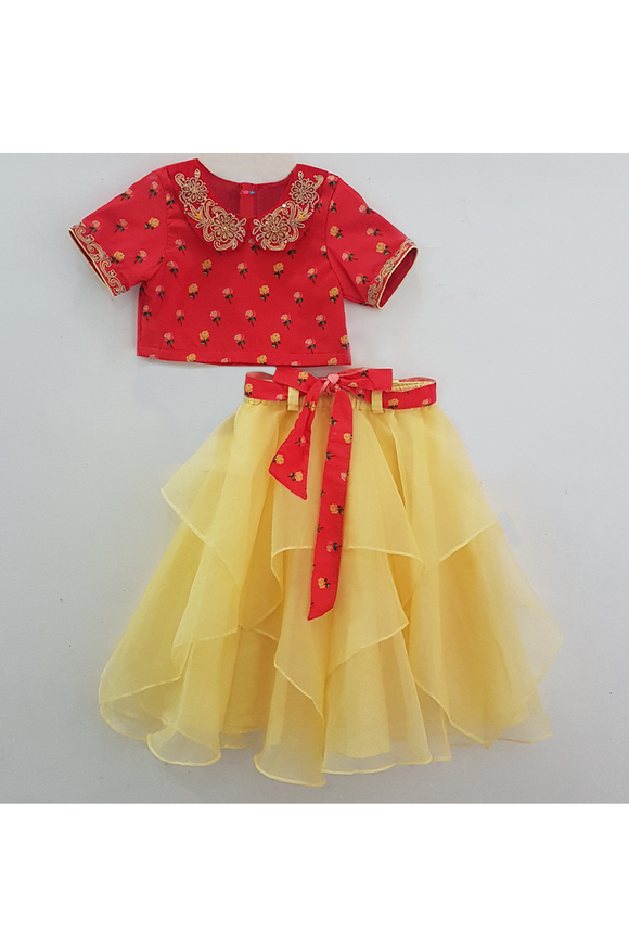 Red green printed blouse with asymmetrical yellow ghagra