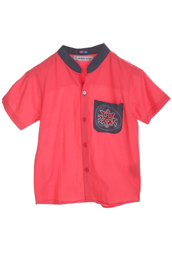 Organic summer shirt with hand embroidered dragon motif
