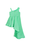 Mint green high low dress with flower applique
