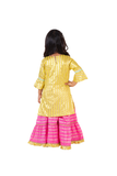 Yellow kurti with baby pink sharara set