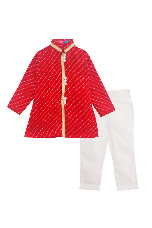 Red mothra kurta with white pants