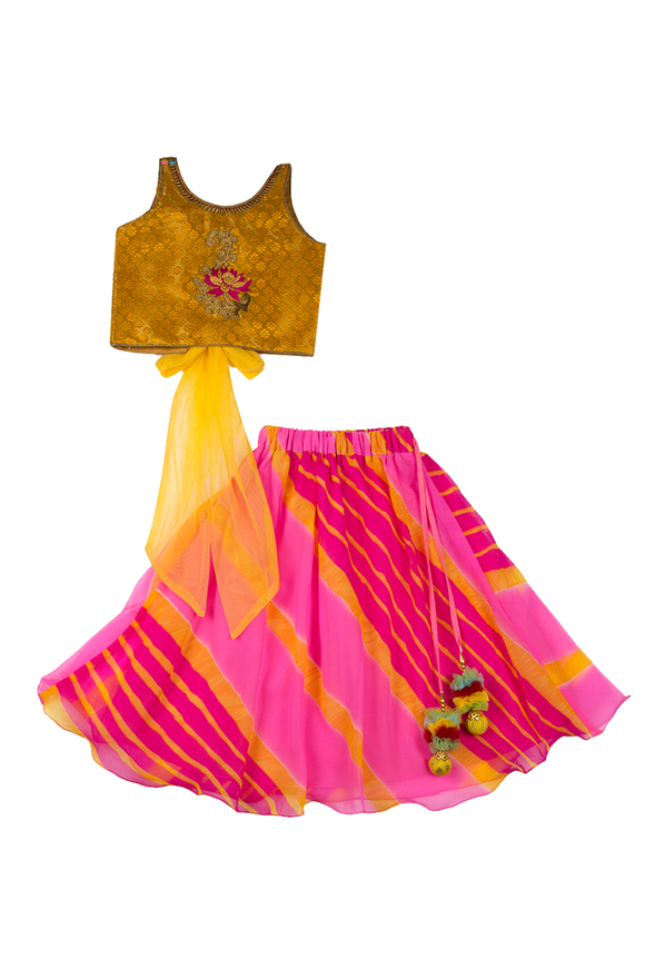 Yellow embroidered top with pink lehenga