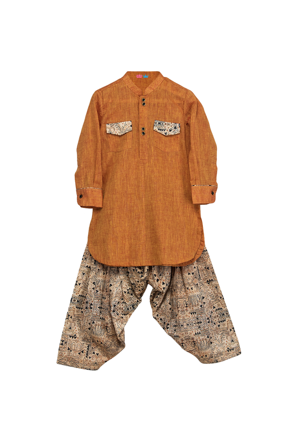 Pathani kurta with katha print patiala salwar