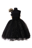 Black and beige frilled gown
