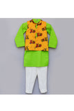 Auto print nehru jacket with green kurta and pant