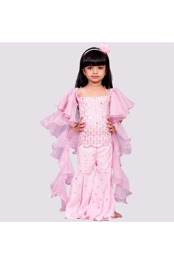 Pink lucknawi chikan embroidery sharara set! Designer Salwar Suit Sets for Baby Girls, Designer Ethnic wear for Girls, Designer Indian wear for Girls, Designer Kurta Dhoti for Baby Girls, Designer Kurta Sharara Sets for Baby Girls, Designer Kurta Garara Sets for Baby Girls, Designer Anarkali Suits for Girls