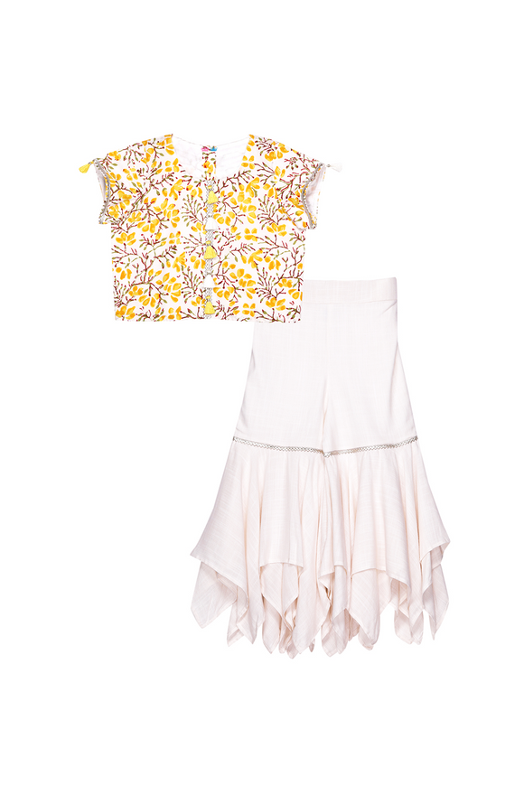 Yellow floral crop top with off white sharara set