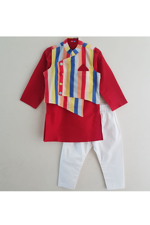 Red kurta with multi color stripes and pyjama set
