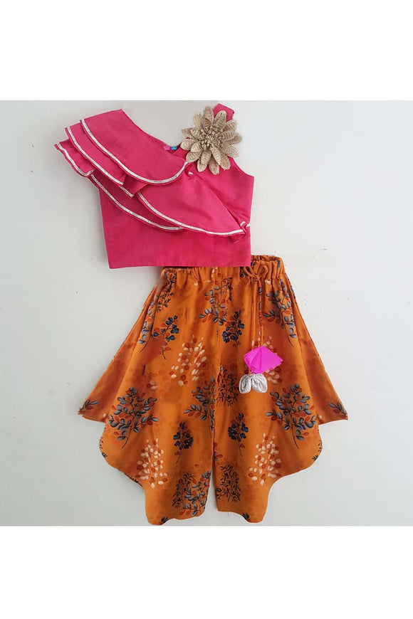 Pink bamboo silk top and brown flared patiala