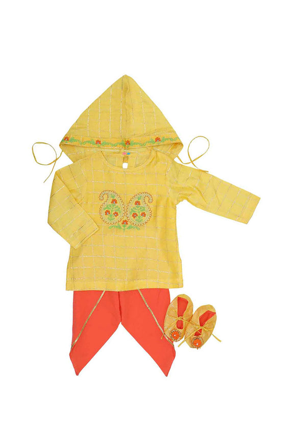 Organic floral embroidered yellow and orange jamna set